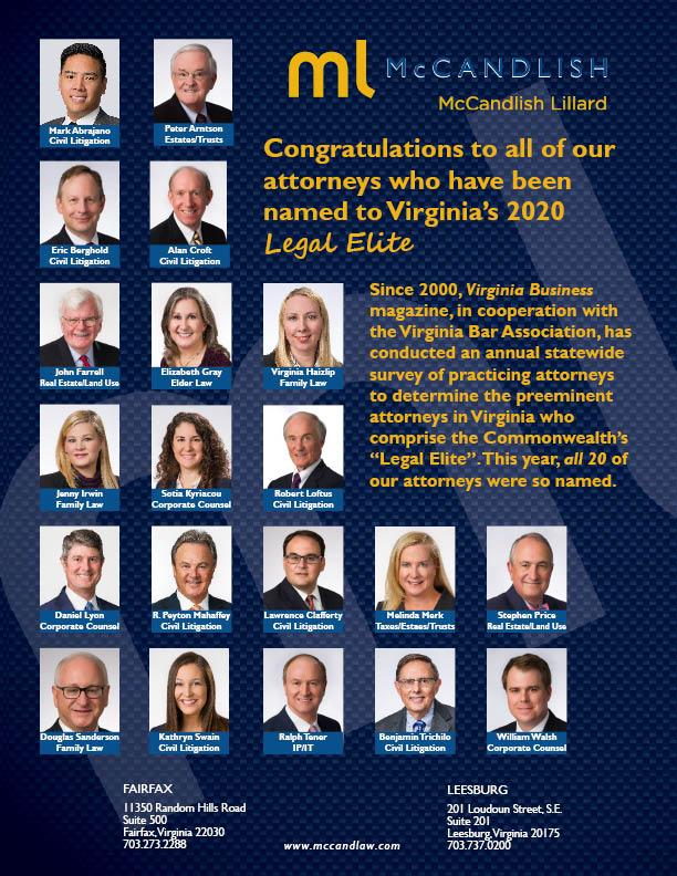 Congratulations to all our attorneys who have been named to Virginia's 2020 Legal Elite
